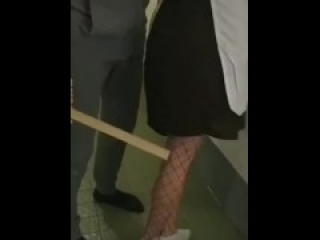 Hard spanking blonde dressed as a maid