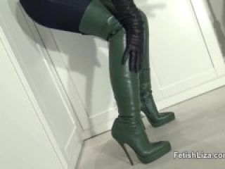 beautiful bootjob with cum on thigh high boots