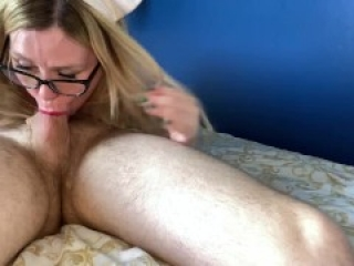 Sexy nurse gives balls massage, bites balls and cock and gets cum on her glasses (different camera)