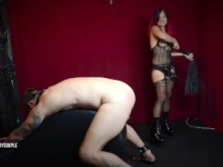 Chastity Slave is Whipped and Pegged to Orgasm by Mistress