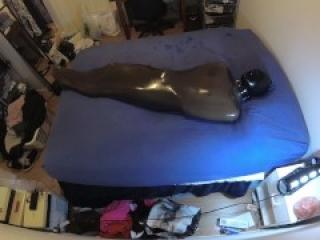 SMOKY LATEX RUBBER ENCASED BREATHPLAY