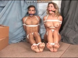 Couple Tied and Ballgagged Drooling.