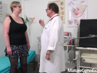 Special pussy and breasts examination of busty mature woman