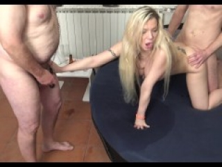 slutty cuckold bitch get fucked by humiliator in front of her loser husband