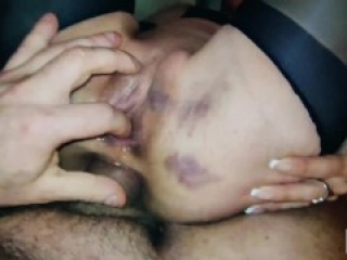 Slut loves hard.Rough fuck with a thick dick in the big butt hole,with a slender slut in stockings