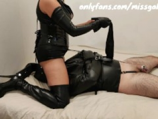 Leather Sub In Chastity Teased & Denied With Vibrator