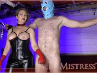 Mistress T Red Latex Gloves Femdom Handjob