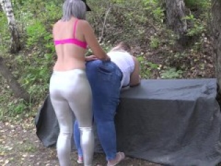 Deep fisting in medical gloves on the river bank Mature lesbians