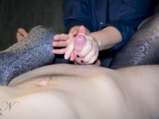 Lady N - Femdom edging handjob in pantyhose | Double ruined CUM & ball torture! (short version)