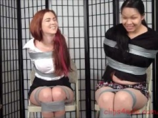 Cute, chubby asian and friend taped up