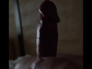 close-up of a big cock jerking off the urethra with a dildo