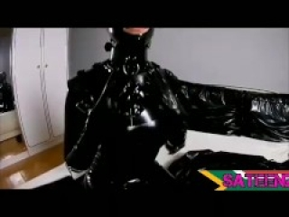 Latex full catsuit fingering her with latex gloves