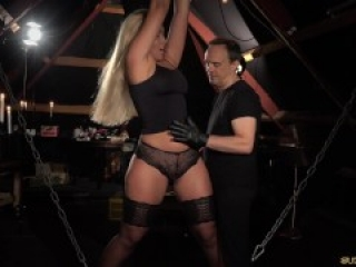 Dummy Thick chick with ties is bound, fondled, spanked and vibed.