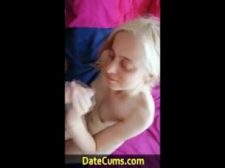 Cute Blonde Date Cums Teen take cum Facial