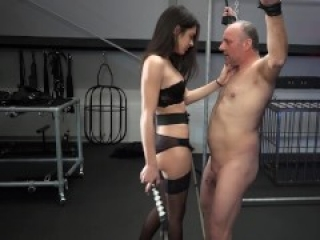 young mistress black lingerie whip tied kiss domination