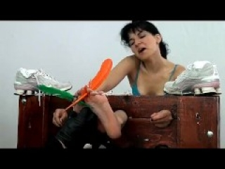 Ticklish girl tied and tickled