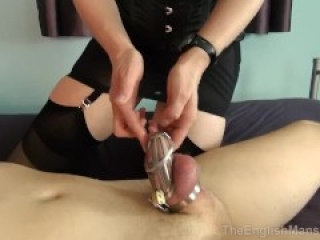 Chastity slave milked by mistress