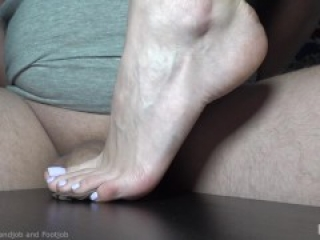 My feet crushing little uncut dick and foreskin