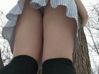 Girl Tied to Tree Wets her Panties and Stockings