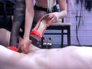 Urethral Sounding with metal heel of Mistress Priest shoes, handjob and humiliation of a