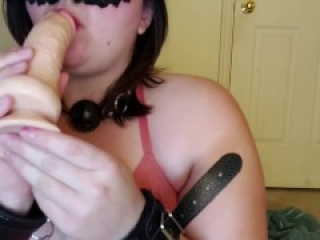 Hands tied sucking/gagging on dildo tease -imagining it were your cock