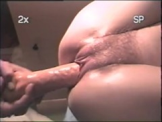 Young slut tied to chair getting big dildo deep then drildo squirting