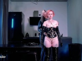 latex rubber bondage and food fetish, lesbian domination