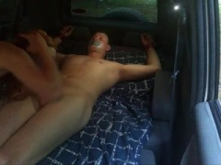 TIED GUY GET FUCKED IN A CAR