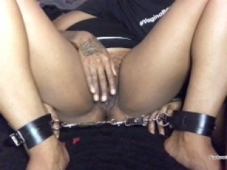 Pussy eating and fingering in bondage