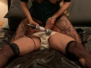 Mistress edges bound CD sub then takes her orgasms