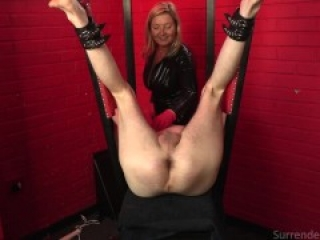 Slave's cock and ball torture continues in the Red Room