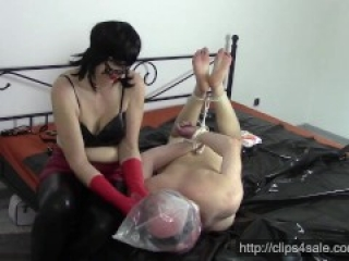 Wife in red latex gloves: Husband bagging