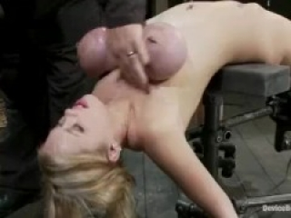 Blonde in Tight Breast Bondage with a Fucking Machine