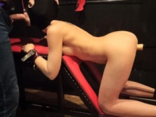 Torture slave girl with a fuck machine and a vibrator