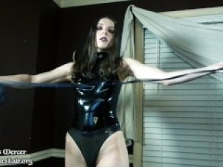 Cruel Latex Mistress POV Tied Caged Gagged and Strapon Pegged Without Mercy