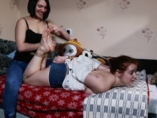 First tickling for Ann in a hogtie [RussianGirlsInDistress]