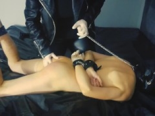 Spanking and pegging tied boyfriend with huge strapon