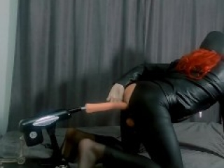 Leather biker tgirl get penetrated doggystyle by fuck machine l latex gloves l no face l wet play