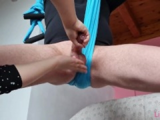 Crazy Handjob with Tied up Balls!