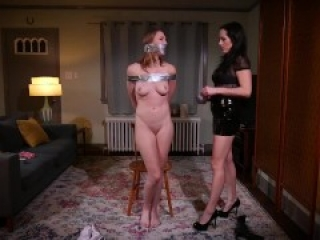 GIRL TIED UP TAPE GAGGED AND GET OWNED BY BIG SISTER ( Bondage BDSM )