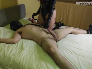 Bondage Sub Gets Used & Fucked By Goddess In Sexy Thigh High Boots