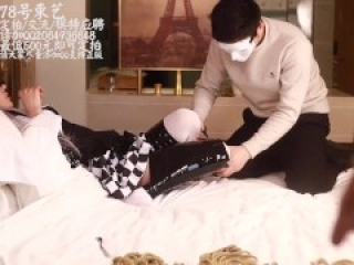 Chinese girl tickle with white stockings