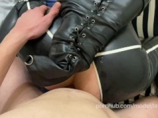 Latex Doll in Armbiner and High Heels Get AssFucked For Her Debt