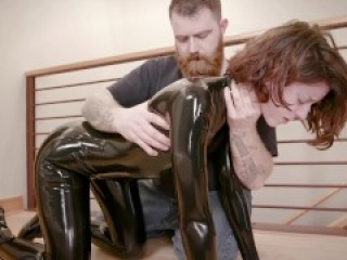 Spanked and tortured on catsuit bdsm